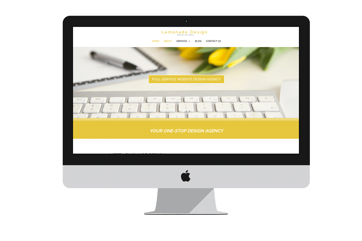 Mockup of Lemonade Design on an iMac, iPad and iPhone