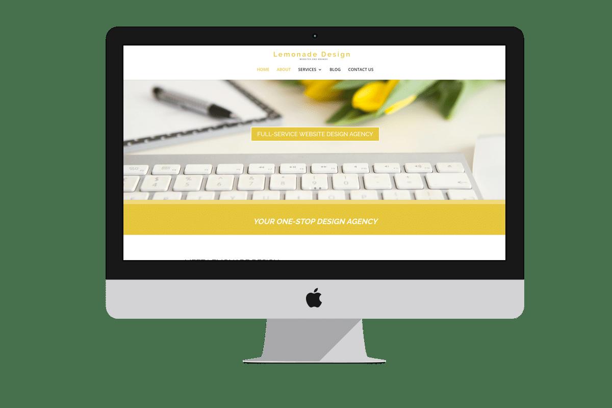 Mockup of Lemonade Design on an iMac, iPad and iPhone