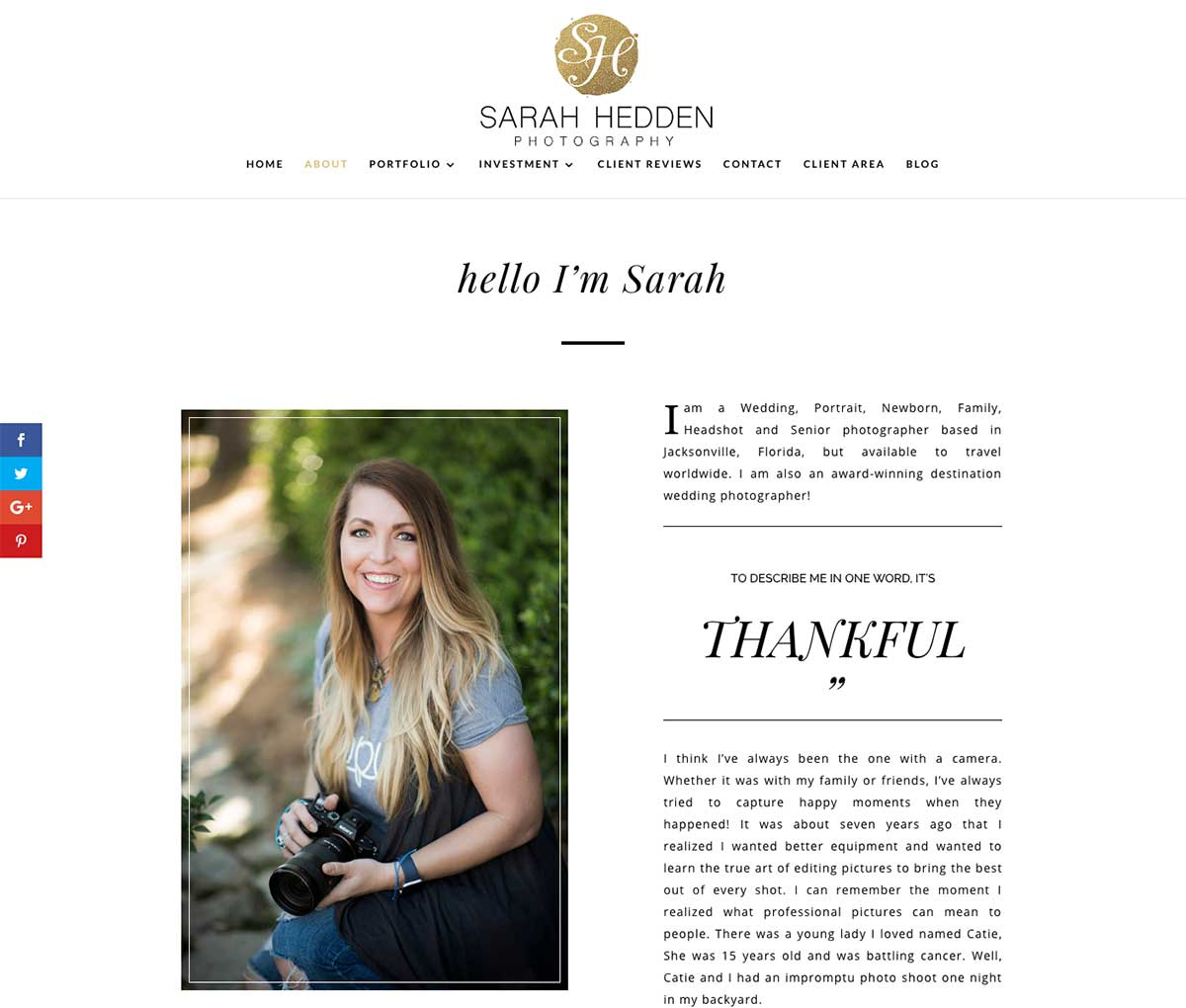 An example of a new responsive website design for a florida wedding and lifestyle photographer.